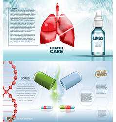 Digital red medicine lungs structure vector