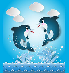 Dolphins in seascape cut style vector