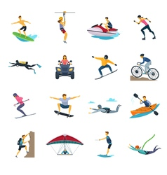 Extreme Sport Activities Flat Icons Collection vector image vector image