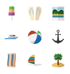 Flat icon beach set of beach sandals coconut vector