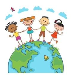 Globe kids Children Earth day vector image