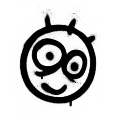 graffiti funny emoji sprayed in black on white vector image vector image