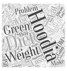 Hoodia diet with green tea word cloud concept vector