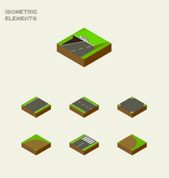 Isometric way set of crossroad rotation sand vector