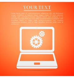 Laptop and gears flat icon on orange background vector
