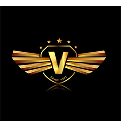 Letter v winged crests logo alphabet logotype vector