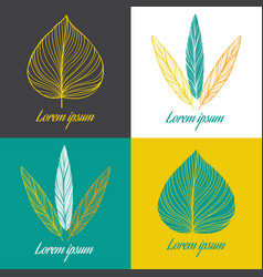 logo design element set feather and leaf vector image vector image
