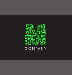 m letter bubble green logo icon design vector image vector image