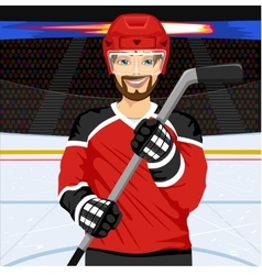 male ice hockey player with an ice hockey stick vector image vector image