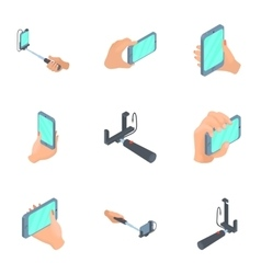 Mobile shooting icons set cartoon style vector