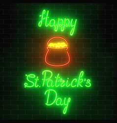 neon glowing saint patricks day sign with pot of vector image