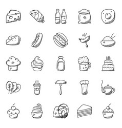 Pack of food and beverages doodle icon vector