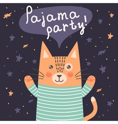 Pajama party card with a cute cat vector image vector image