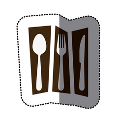 Print cutlery tools icon vector
