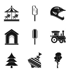 safety of entertainment icons set simple style vector image vector image
