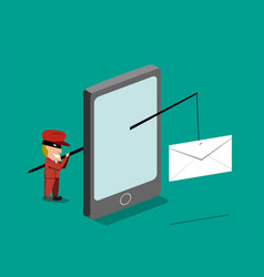 Scammer send phishing mail by mobile phone vector