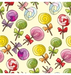 Seamless pattern with color lollipops vector image vector image