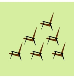 Set of brown chair on a light background vector image
