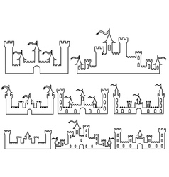 Set of Fantasy castles silhouettes for design vector image