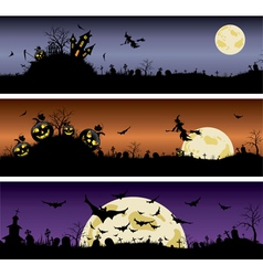 Set of Halloween night banners vector image vector image