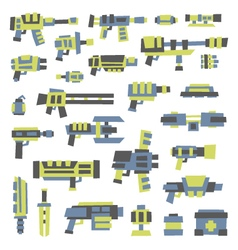 set of simple minimal flat style sci-fi guns vector image