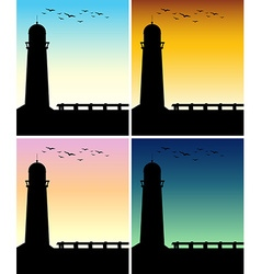Silhouette lighthouse with different time of day vector image vector image