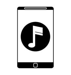 Silhouette smartphone music note digital app vector
