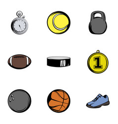 Sport icons set cartoon style vector