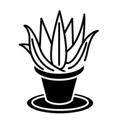 succulents aloe pot icon vector image vector image