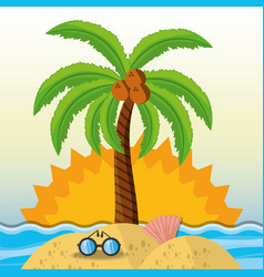 Summer vacation in a beautiful sunny beach vector