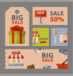 Supermarket grocery shopping retro cartoon cards vector