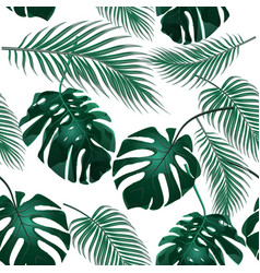 Tropical palm leaves jungle thickets seamless vector