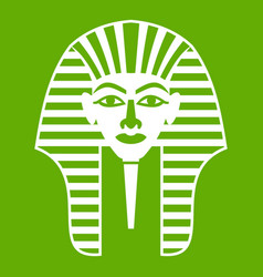 tutankhamen mask icon green vector image