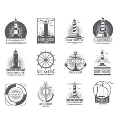 Vintage nautical labels with light house sea boat vector