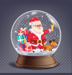Xmas empty snow globe santa claus ringing vector