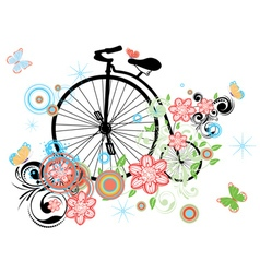 Old Bicycle and Floral Ornament vector image