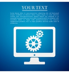 Monitor and gears flat icon on blue background vector image