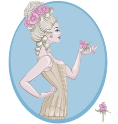 Rococo style young woman vector