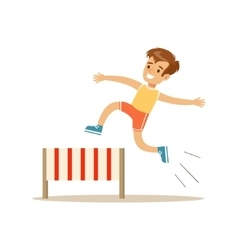 Boy hurdle racing kid practicing different sports vector