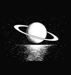 Saturn reflecting on water vector