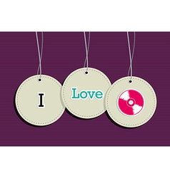 Hanging i love music badges vector