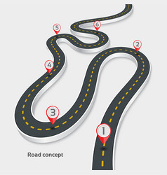 Winding 3d road infographic concept on a white vector