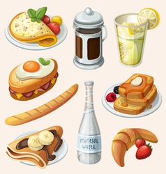 Set of french breakfast elements vector image