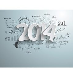 White tags with 2014 text on business success vector