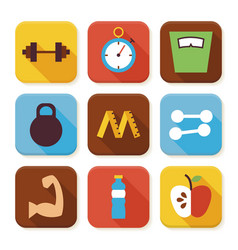 Flat sport and fitness squared app icons set vector