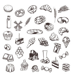 Confectionery sketches of icons set vector