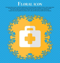 First aid kit floral flat design on a blue vector