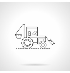 Farm tractor flat thin line icon vector