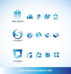 Logo design elements icon set blue vector