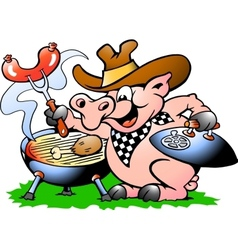 Hand-drawn of an pig standing and making bbq vector